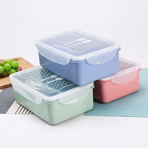 Große Weizenstroh Lunchbox Mikrowelle Lunchbox Set Kühlschrank Obst Aufbewahrungsbox @ Grün