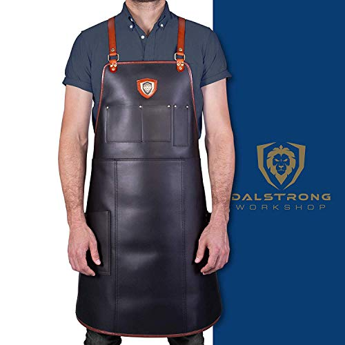 """DALSTRONG Professional Chef, Butcher & BBQ Kitchen Apron - """"The Culinary Commander"""" Top-Grain Leather - 5..."""