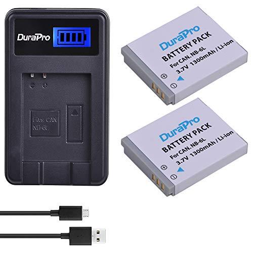 Durapro - Batería NB-6L, NB-6LH y cargador USB LCD para cámaras Canon Powershot SX500...