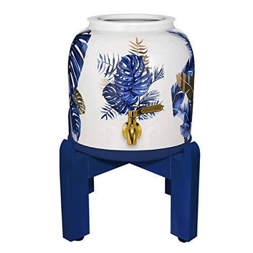 Geo Sports Porcelain Ceramic Crock Water Dispenser Nature Series 8 Inch Wood Stand Stainless Steel Faucet and Lid Included Fits 2 to 5 Gallon Jugs BPA Lead Free Blue Plant Design