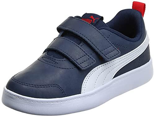 PUMA COURTFLEX V2 V Inf, Sneaker Unisex-Bambini, Blu(Peacoat/High Risk Red), 24 EU