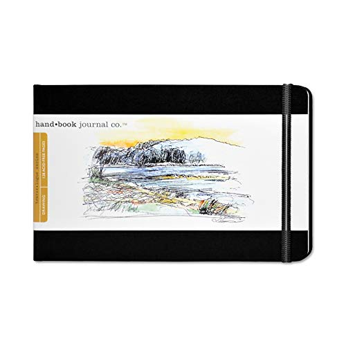 Travelogue Drawing Book, Large Landscape 5-1/2 x 8-1/4, Ivory Black Artist Journal