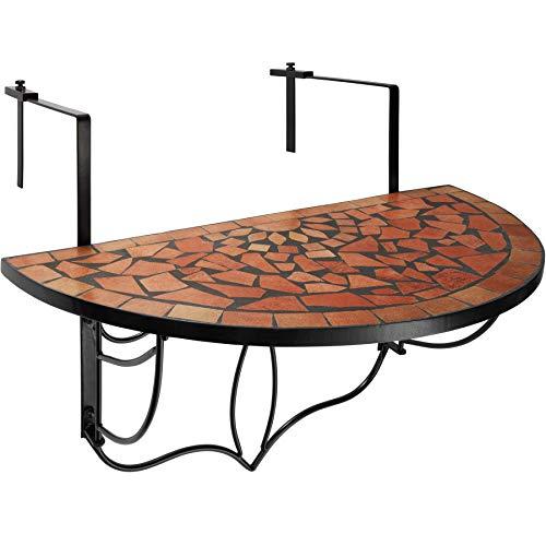 TecTake 800570 - Balkonhängetisch zusammenklappbar, Halbkreisförmiges Design, Tischplatte aus Steinmosaik - Diverse Farben (Terra | Nr. 402765)