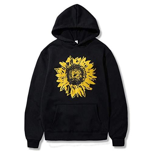Fheaven Sweatshirt for Women Sunflower Print Long Sleeve Hoodie Hooded Pullover Tops Blouse With Pocket Outwear Coat