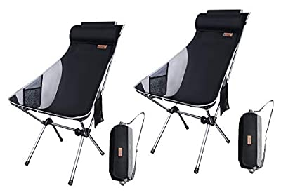 Nice C Ultralight High Back Folding Camping Chair, Upgrade with Removable Pillow, Side Pocket & Carry Bag, Compact & Heavy Duty for Outdoor, Camping (Set of 2 Black)