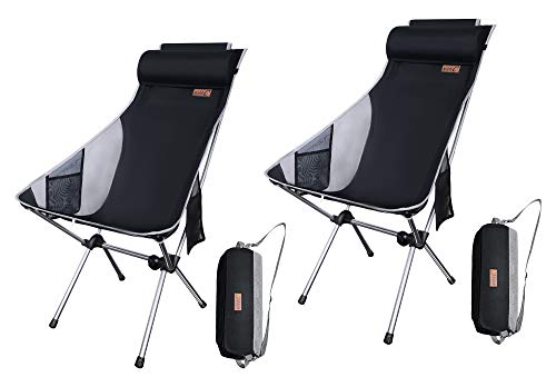 NiceC Ultralight High Back Folding Camping Chair, Upgrade with Removable Pillow, Side Pocket & Carry Bag, Compact & Heavy Duty for Outdoor, Camping (Set of 2 Black)