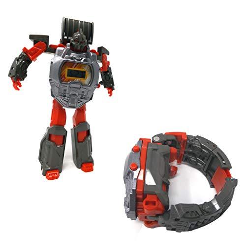 Brigamo Transform Robot - Reloj de Pulsera para niños, se transforma en un Instante en un Robot (Gris)