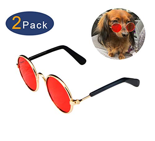 YAODHAOD Pet Dog Cat Gafas de Sol, Classic Retro Round Metal