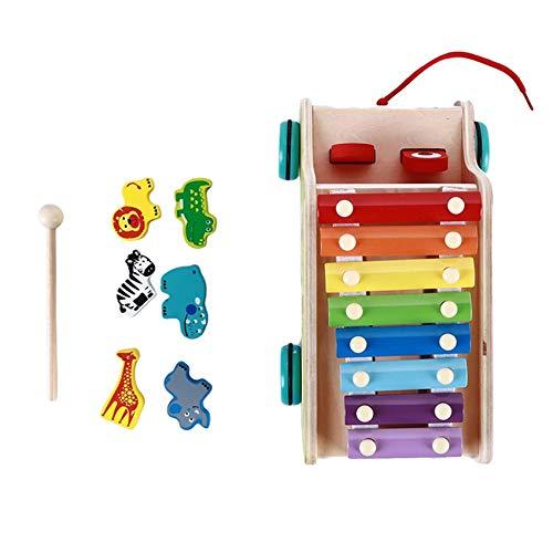 Kaned Knocking - Rompecabezas de música de piano con martillo de madera para niños de desarrollo temprano juguetes educativos, arrastrar concierto de animales