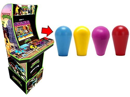 Alvatron Set of 4 Transparent Joystick Bat Tops Translucent Clear Ball Top Handles for Arcade1up TMNT Teenage Mutant Ninja Turtles NBA JAM Burger Time Golden Axe Simpsons Mod (Blue/Yellow/Purple/Red)