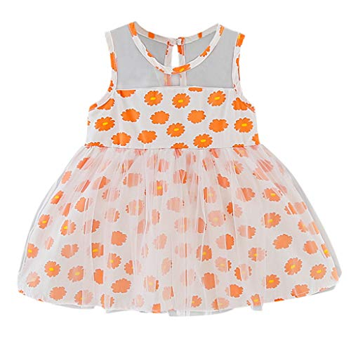 CUTUDE Girls Rose Flower leeveless Floral Print Bowknot Tulle Baby Princess Party Skirt Tulle Wedding Bridesmaid Christening Gown Clothes (Orange, 12-18 Months)
