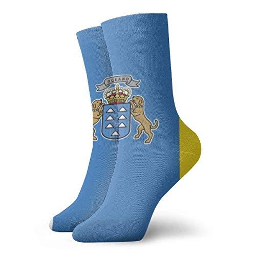 Love girl Bandera de las Islas Canarias Calcetines de tobillo personalizados Medias atléticas Calcetines casuales 30cm Para hombres Mujeres