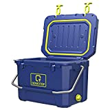 OT QOMOTOP Rotomolded Camping Cooler, Heavy-Duty Ice Chest, 21 Quart Day Cooler, 30-Can Capacity, with Fish Ruler/Tie-Down Points/Bottle Holder, for Outdoor Travel, Hiking, Beach, BBQ Party
