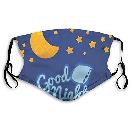 Fashion 3D Face_mask_Protect Printed Gesichts-Mund-Schutz Free Bed Time Illustration with Pillow Moon and Stars Nursery