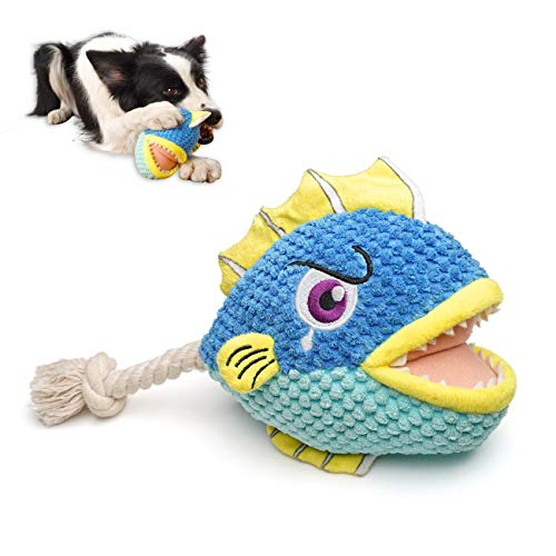 Als Ellan Squeaky Plush Dog Toys for Puppy, Durable Stuffed Chew Toys with Crinkle Paper & Rope Tail, Interactive Cute Soft Dog Toys for Teeth Cleaning, for Small Medium Dogs (Shark)