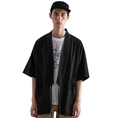 QIYUN.Z Chaqueta Japonesa del Estilo del Kimono del Tamaño Extra Grande De Los Hombres Chaqueta Japonesa Floja del Yukata del Vintage