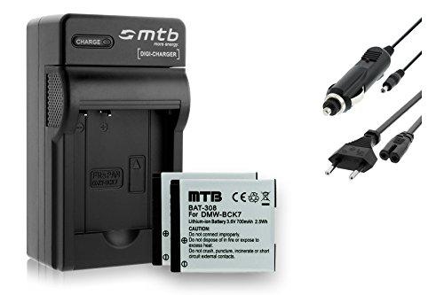 2 Akkus + Ladegerät (KFZ, Netz) für Panasonic DMW-BCK7 / Lumix DMC-FH, FP, FS, FT, FX.- Siehe Liste