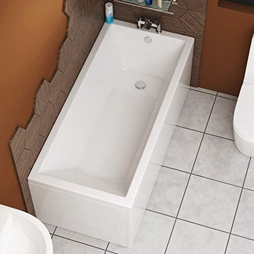 Cesar 1700 x 700mm Designer Acrylic Single Ended Bath Straight Bathroom Bathtub
