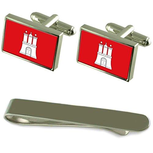 Die Hamburger Flagge Silber Manschettenknöpfe Krawatten Clip Box Set