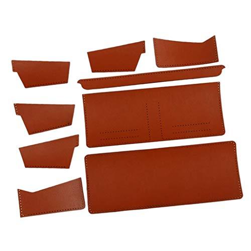 P Prettyia DIY Leder Handwerk, Geldbörse Portmonee Nähen Materialpaket Komplettset mit vorgestanztem Ledermaterial - Dunkelorange