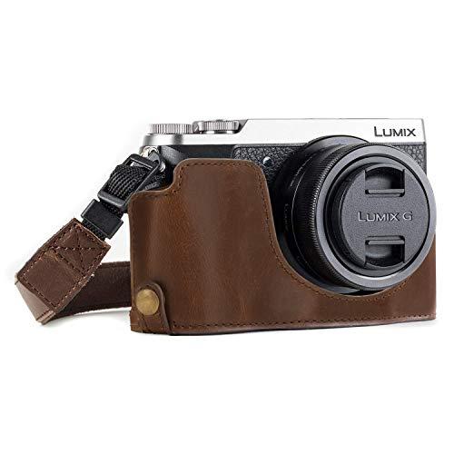MegaGear Ever Ready Leder Kamera Halbtasche mit Trageriemen und Batteriezugang für Panasonic Lumix DMC-GX85, GX80 Dunkelbraun
