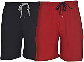 Hanes Men's 2-Pack Cotton Drawstring Knit Shorts Waistband & Pockets, Biking Red/Black, X-Large