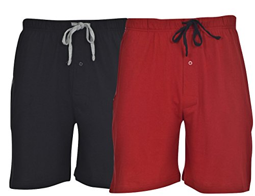Hanes Men's 2-Pack Knit Short, Red & Black, XX-Large
