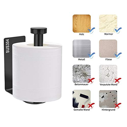Toilettenpapierhalter Ohne Bohren Braoses Klopapierhalter SUS304 Edelstahl selbstklebend WC rollenhalter Wandmontage f¨¹r K¨¹che und Badzimmer 3