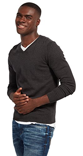 TOM TAILOR Herren Basic V-Neck Pullover, Grau (Black Grey Melange 2572), Large