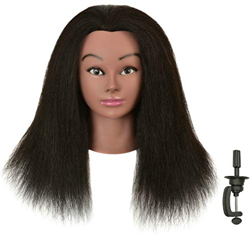 FUTAI 100% Human Hair Mannequin Head Manikin Cosmetology Makeup Manican Doll Heads for Display Practice Braiding Styling Training Coloring Bleaching Dyeing Curling Cutting with Stand