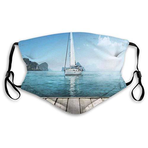 Gesichtsschutz Mundschutz Nasenschutz Wiederverwendbar Waschbar Gesichts Schals Mit Filtern Yacht vom Holzdeck Horizon Serenity Seascape Leisure Aquatic Coastal