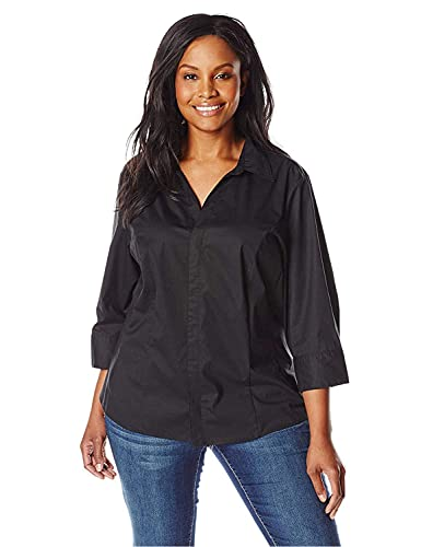 Riders by Lee Indigo womens Easy Care ¾ Sleeve Woven Shirt,Black Soot,XX-Large