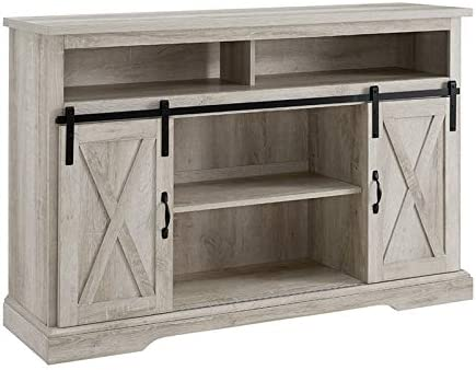 """Pemberly Row Farmhouse Sliding Door Wood 52"""" Highboy TV Stand Console Buffet Credenza Storage Cabinet in Stone Gray Barnwood"""