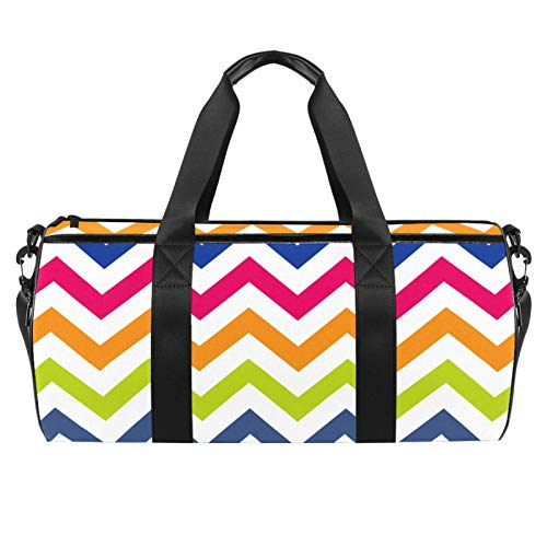 chuangxin 18' Sports Gym Bag,Travel Duffel Bag,Colorful Wave Pattern