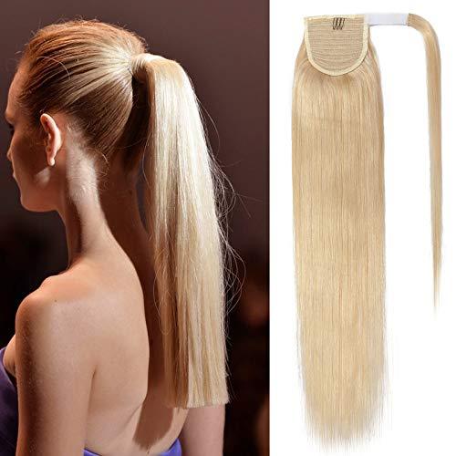 40cm - Coleta Postiza Pelo Natural Ponytail [613# Blanqueador Rubia] 100% Remy Extensiones de Clip Cabello Humano Lisa Hair Extensions (80g)