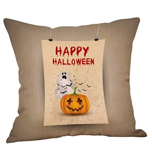 Pillowcase Fall Halloween Pattern Sofa Retro Square Pillow Case Waist Throw Cushion Cover Sofa Home Decor (Color : A, Size : 45cm*45cm)