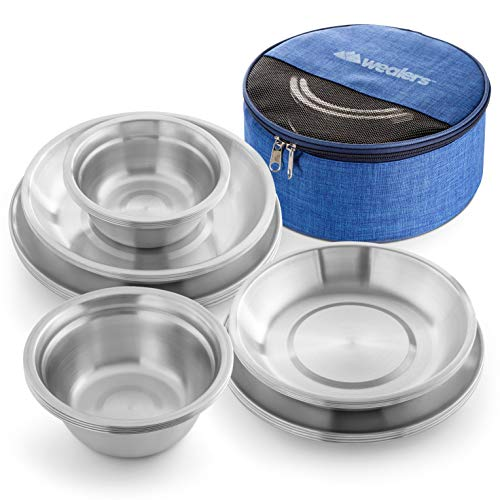 Wealers Stainless Steel Plates and Bowls Camping Set Small and Large Dinnerware for Kids, Adults, Family   Camping, Hiking, Beach, Outdoor Use   Incl. Travel Bag (Large Sizes 24-Piece Kit)
