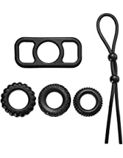 LUOEM Silicone Men Cockring Set Pene Ring Erection Delay Toy Rectangle Combined Rings with Rope (Negro)