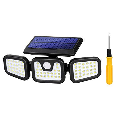 Luz Solar Exterior con Sensor de Movimiento Foco Solar LED Exterior Lámpara Solar de Seguridad Impermeable IP65 Lámpara Solar Exterior 74 LED luz de pared a prueba para Jardín Patio Garaje Camino