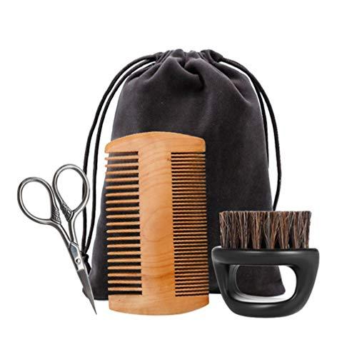 HEALLILY Barttrimmset Bartpflegebürste Holzkamm Edelstahlschere mit Aufbewahrungstasche zur Schnurrbartpflege