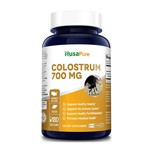 Colostrum 700 mg 180 Vegetarian Caps (Non-GMO & Gluten Free) Accelerates Healing, Supports Immune System, Respiratory Health, Gut Health - Increases The Metabolism of Fat