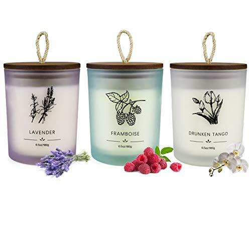 YINUO LIGHT Paquete de 3 Velas, Juego de Velas aromáticas de Regalo para Mujeres, Juego de Velas de aromaterapia de Soja, Regalos de cumpleaños para Hombres, Paquete de 3 por 120 Horas