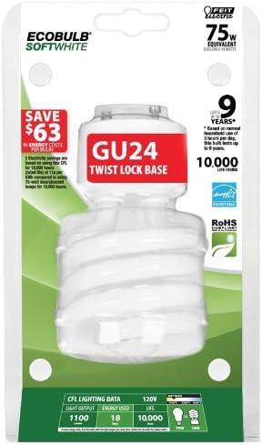 Feit BPESL18TM/GU24 18-watt Twist Soft White GU24 Base 75-watt Equivalent Light
