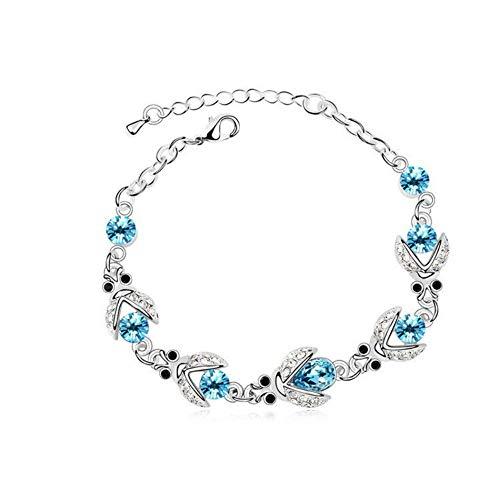 Pulsera de plata de ley para mujer, pulsera de tenis de cristal azul, pulsera de infinito para mujer
