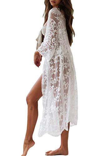 copricostume donna trasparente Siyova Copricostumi da Bagno Donna Pizzo Floreale Kimono Cardigan a Manica Lunga Trasparente VedereAbito da Spiaggia Sexy Tinta Unita Elegante Anteriore Bikini Cover Up (Bianca