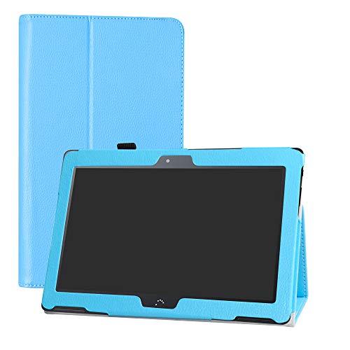 LFDZ BQ M10 Funda, Soporte Cuero con Slim PU Funda Caso Case para 10.1' bq Aquaris M10 FullHD FHD HD/Aquaris M10 Ubuntu Edition Tablet,Azul