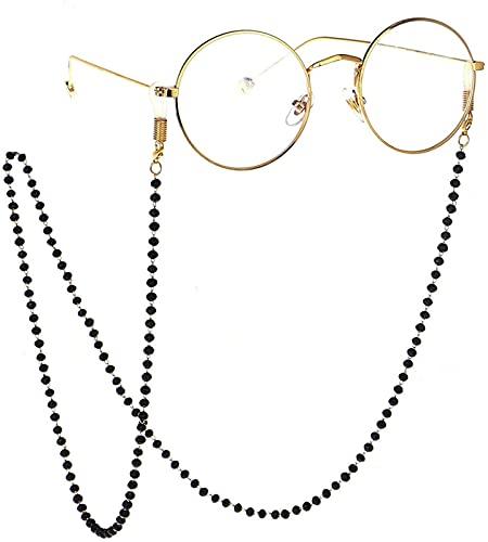 YUIOLIL Cadena de Gafas Exquisita y Sencilla, Hecha a Mano, Gafas de Cristal Negro, Cadena Antideslizante con Cuello Colgante, 2 Piezas para niñas