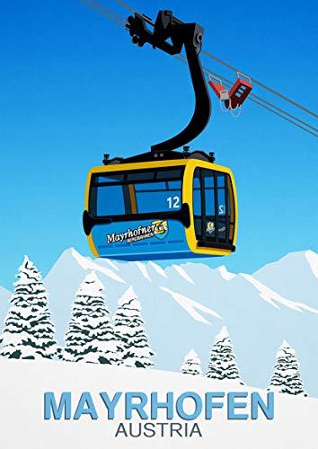 Mayrhofen ski resort poster,Ski poster,Ski art