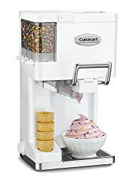 small Cuisinart ICE-45P1 Mix Serve 1.5 liter soft serve ice cream machine, white