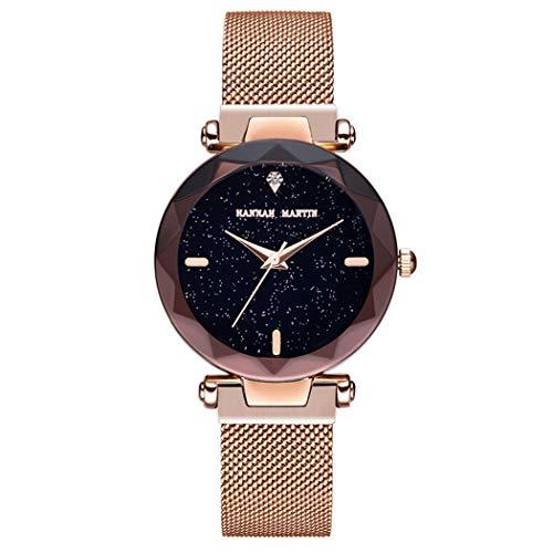 Mujer Relojes, Allskid Centelleo Cielo Estrellado Rhinestone Marcar Forma de Diamante Vaso Acero Inoxidable Cinturón de Malla Reloj de Pulsera Women Watches (34mm, A-Oro Rosa)